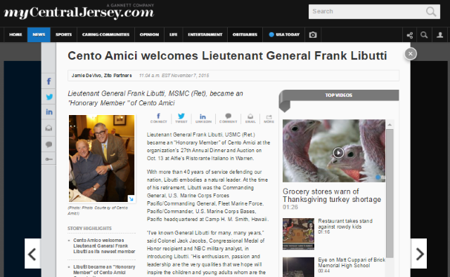 Cento Amici Welcomes General Libutti 2015
