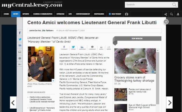 Cento Amici Welcomes General Libutti 2015